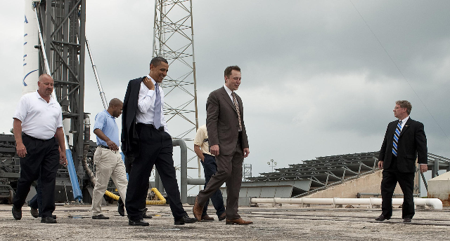 Musk and President Barack Obama at the SpaceX